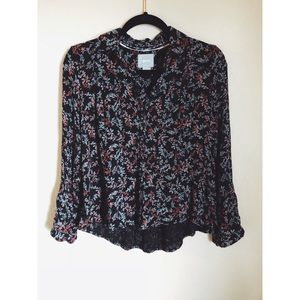 Maeve Anthropologie floral button down top